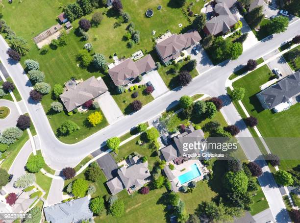 small town on aerial view in summer, ontario, canada - residential district stock pictures, royalty-free photos & images