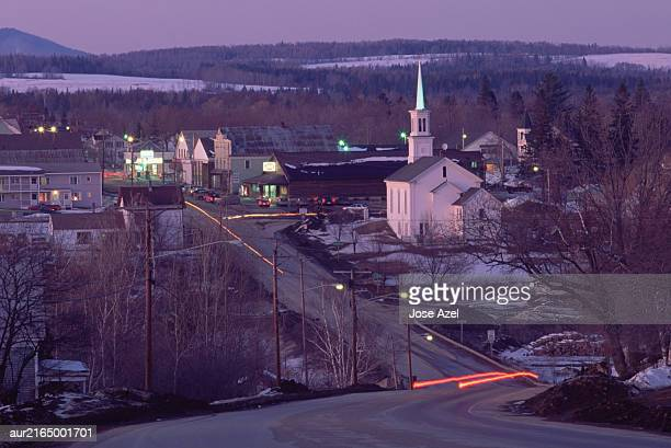 A small town seen at dusk, Maine, USA.