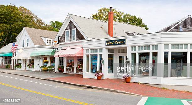 Small Town Street lined with stores, Chatham, Cape Cod, Massachusetts.