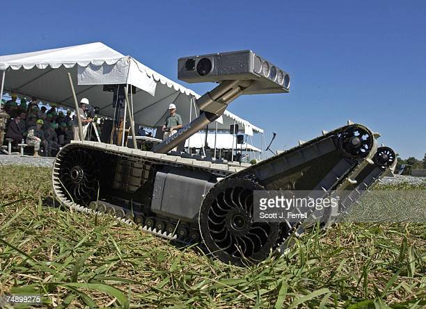 Small Unmanned Ground Vehicle during a demonstration of future combat systems for Army Secretary Francis Harvey, Army Chief of Staff General Peter...