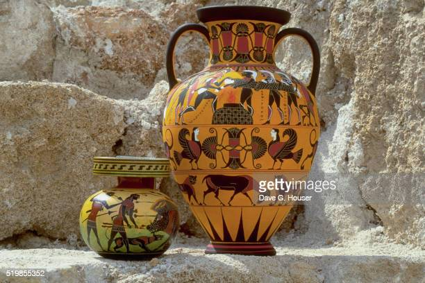 small vase with painted replica of greek amphora in black-figure style by kostas pappas - decorative urn stock pictures, royalty-free photos & images