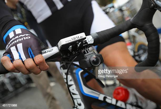 A small video camera is mounted under the handle bars of one of the riders to provide in race video during stage one of the 2014 Tour de France from...