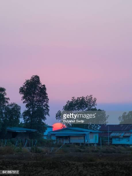 Small village at sunset ,Rural of Bangkok ,Thailand.