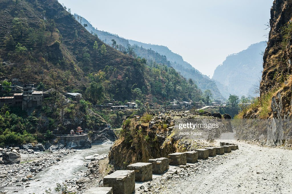 Small village in Himalaya : Stock Photo