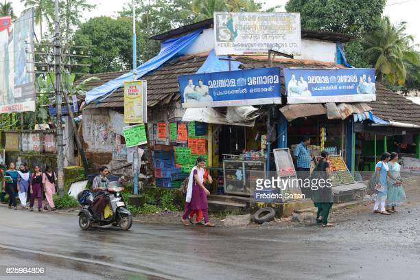 Small village in the Western Ghats of Kerala during the monsoon on July 19 2016 in India