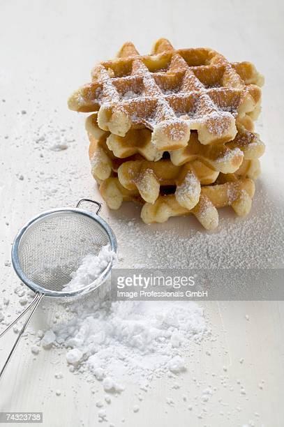 Small waffles with icing sugar