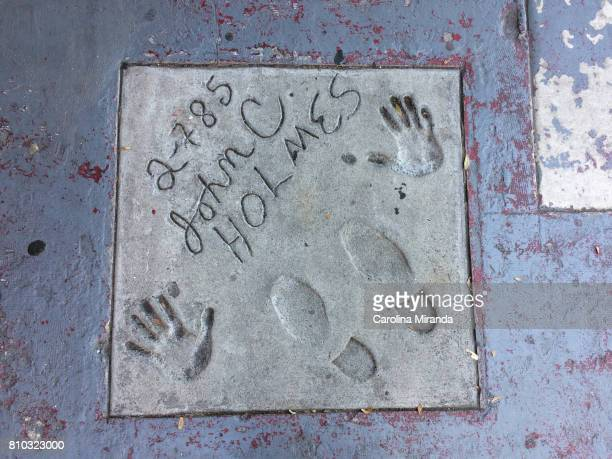 A small walk of fame outside the Studs adult theater in West Hollywood features foot and hand prints by famous adult stars of the '70s and '80s such...