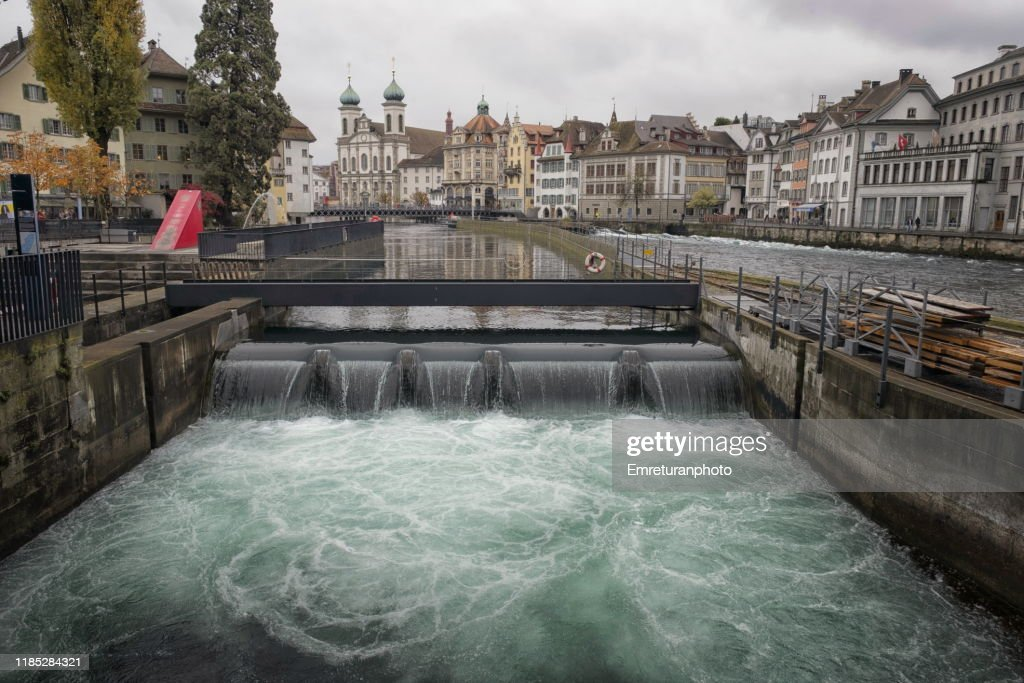 Small waterfall on Reuss river in Lucerne. : Stock Photo