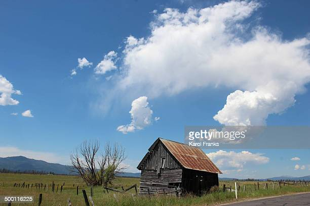 Small weathered barn in grassy field with clouds in blue sky