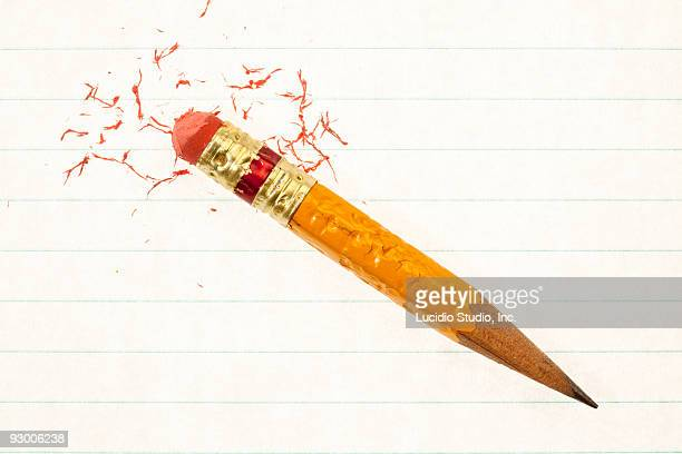 small well used pencil - eraser stock pictures, royalty-free photos & images