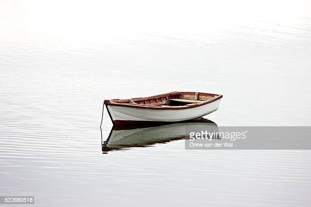 a small white dinghy rests at anchor in quiet water. - bateau à rames photos et images de collection