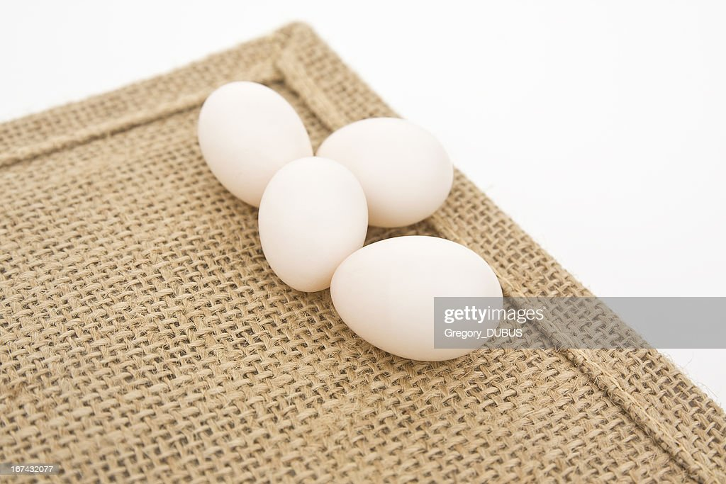 Small white eggs : Stock Photo