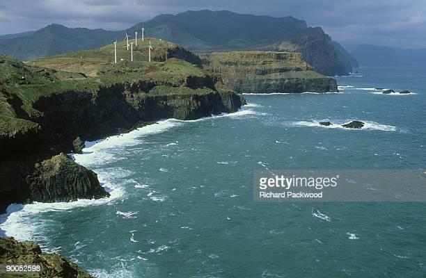 small wind farm on ponta de sao lourenco at eastern end of island, madeira - madeira island fotografías e imágenes de stock