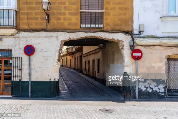 Small winding roads in Cadiz, Spain