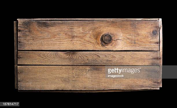 Small wooden crate on black background