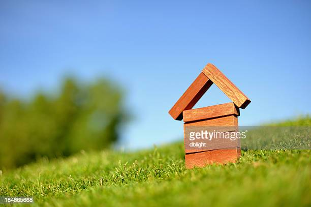 A small wooden model of a house stands on a slope