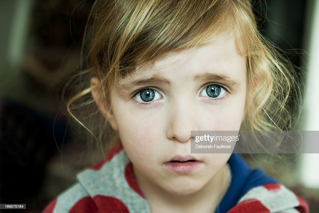 Small worried girl : Stock Photo