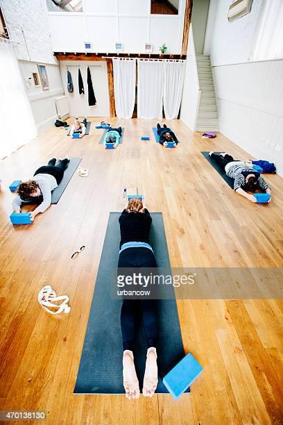 Small Yoga class, exercise studio