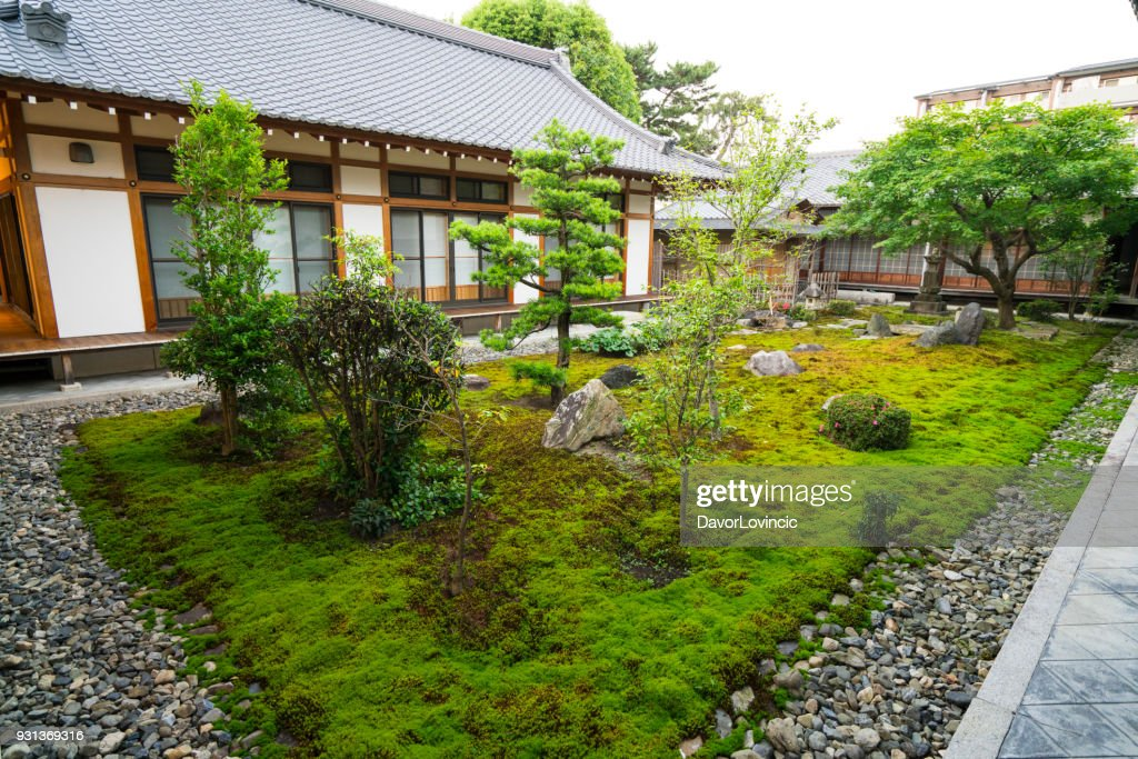 Small Zen Garden Between Chion Ji Temple Walls In Kyoto, Japan