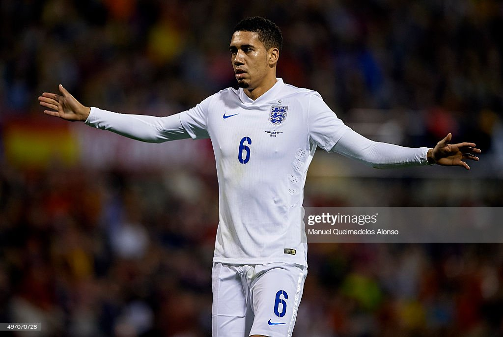 Smalling of England reacts during the international friendly match between Spain and England at Jose Rico Perez Stadium on November 13, 2015 in Alicante, Spain.