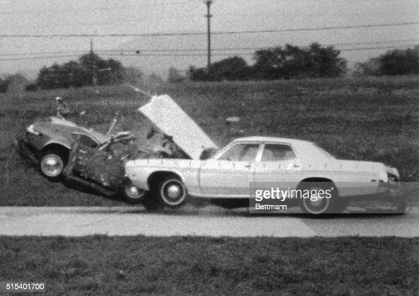 A smallsize 1972 Ford Pinto's passenger compartment crumbles in a head on crash test with a larger 1972 sedan size Ford Galaxie The test was...
