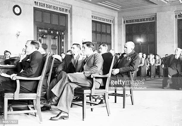 Smalltime gangsters Dominic Brancato and George McGuinness sit in court during a trial Chicago ca1920s