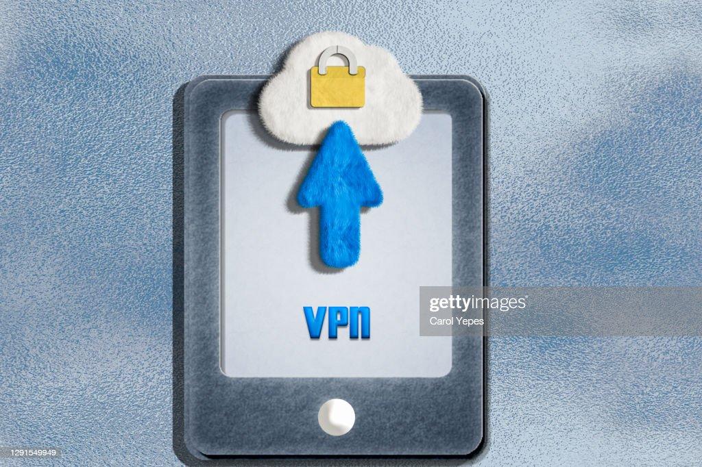 smarphone and VPN text : Stock Photo