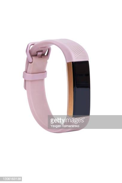 smart activity tracker watch isolated on white background - fitness tracker stock pictures, royalty-free photos & images
