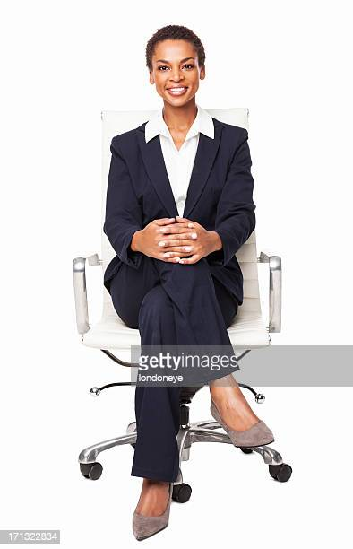 smart african american businesswoman - isolated - sitting stock pictures, royalty-free photos & images