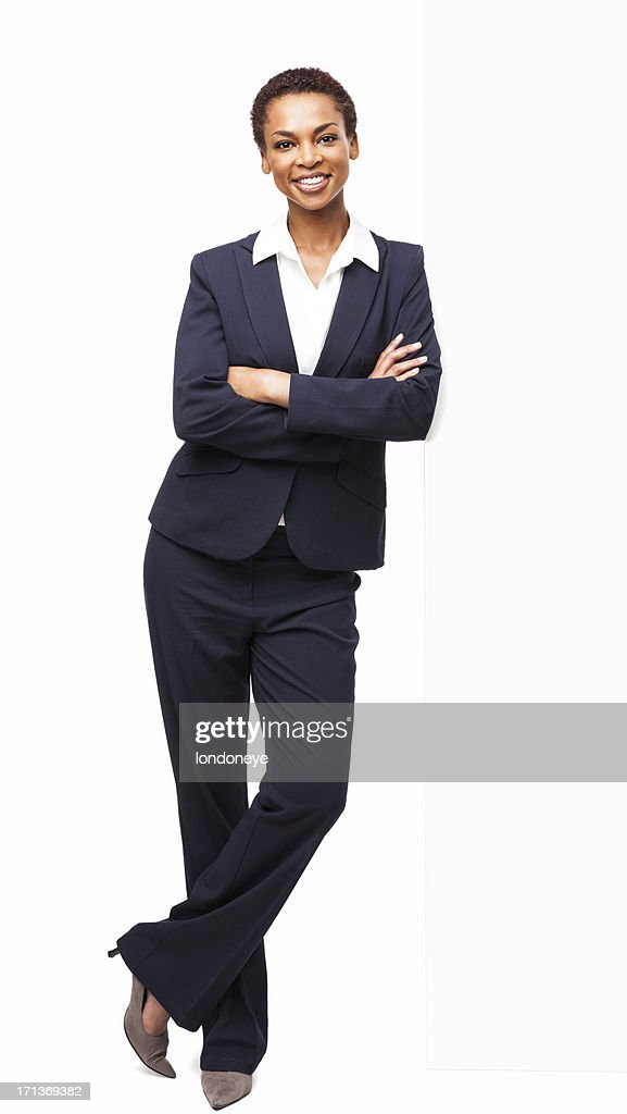 Smart African American Businesswoman Standing With Hands Folded : Stock Photo