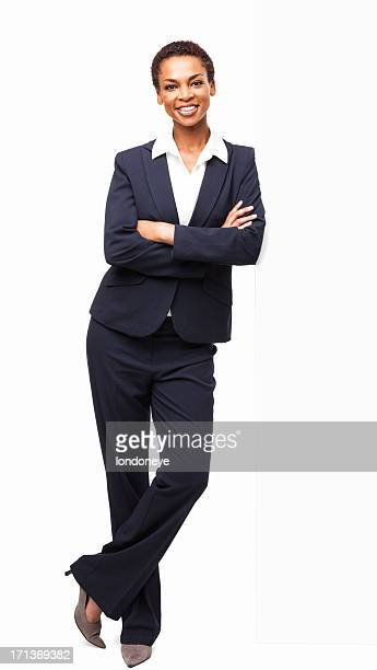 Smart African American Businesswoman Standing With Hands Folded