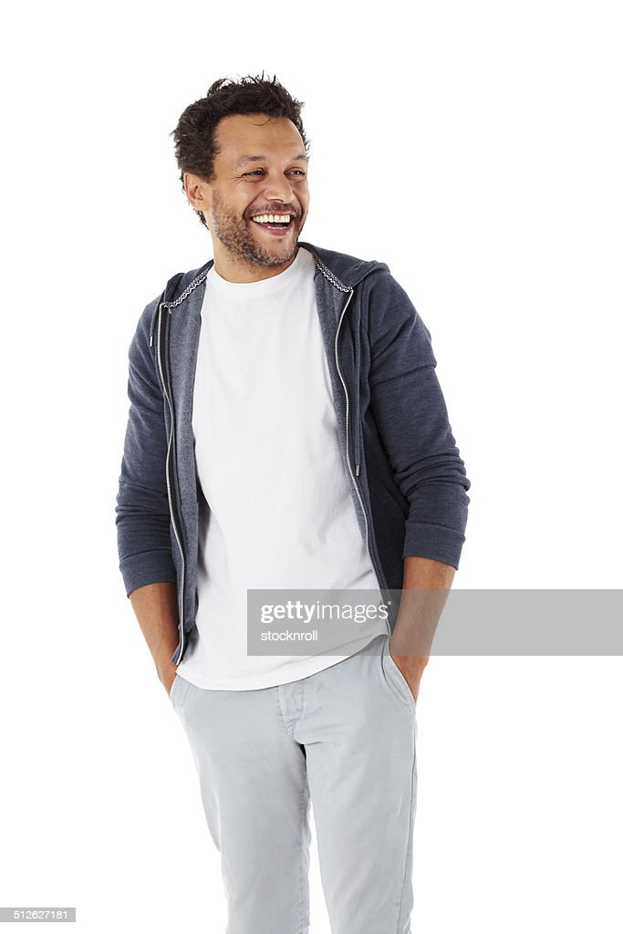 Smart african male model looking away smiling : Stock Photo
