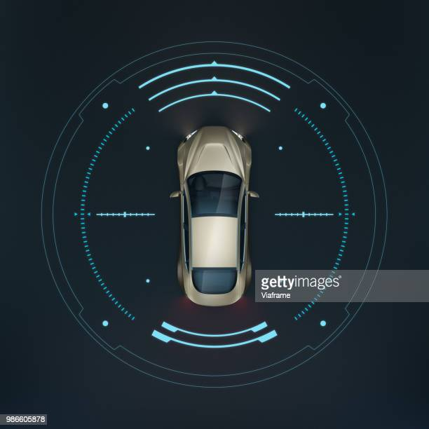 smart car rs topview - illustration - futuristic car stock pictures, royalty-free photos & images