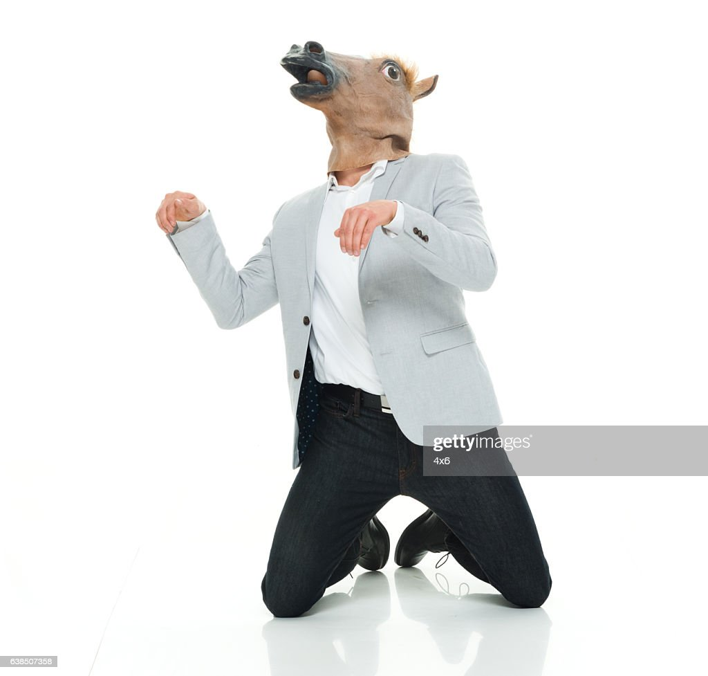 Smart casual man in horse costume  Stock Photo  sc 1 st  Getty Images & Smart Casual Man In Horse Costume Stock Photo | Getty Images