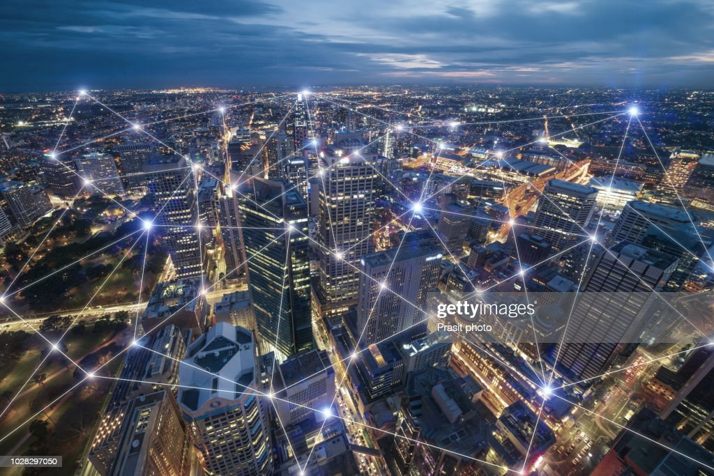 Smart city and connection lines. Internet concept of global business in Sydney, Australia. : Stock Photo