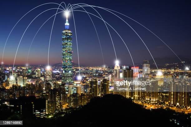 smart city and connection lines. urban skyline in taipei, taiwan, at night. - taiwan stock pictures, royalty-free photos & images