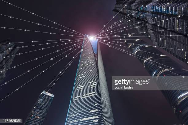 smart city and data communication. internet concept of global business in shanghai - big data world stock pictures, royalty-free photos & images