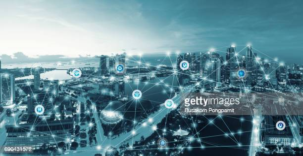 smart city and internet of things, wireless communication network, abstract image visual - sensor stock pictures, royalty-free photos & images
