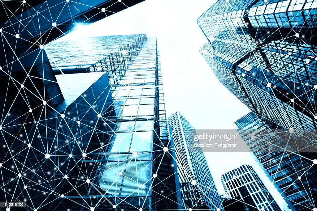 Smart city and internet of things, wireless communication network, abstract image visual : Stock Photo