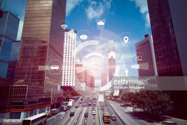 smart city and vehicles, modern transportation and communication network internet of things - building icon stock photos and pictures