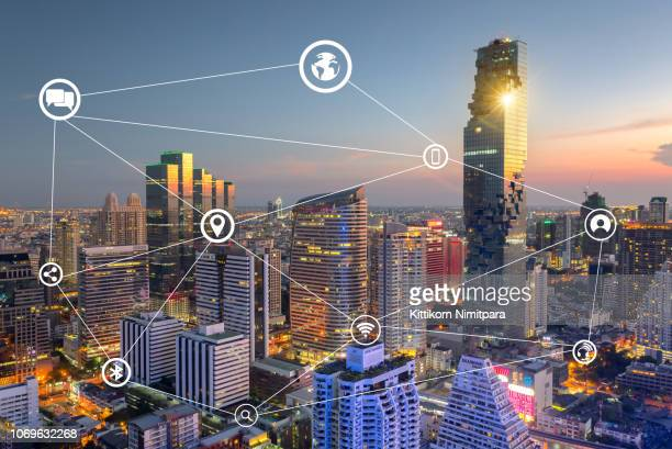 smart city and wireless communication network, business district,abstract image visual internet of thing concept - bluetooth stock pictures, royalty-free photos & images