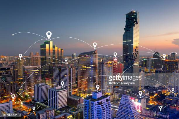 Smart city and wireless communication network, business district,abstract image visual internet of thing concept