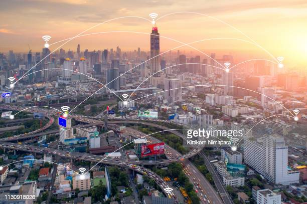 smart city and wireless communication network, business district,abstract image visual internet of thing concept - community icon stock pictures, royalty-free photos & images