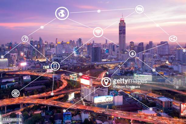 smart city and wireless communication network, business district,abstract image visual internet of thing concept - イメージ転送 ストックフォトと画像