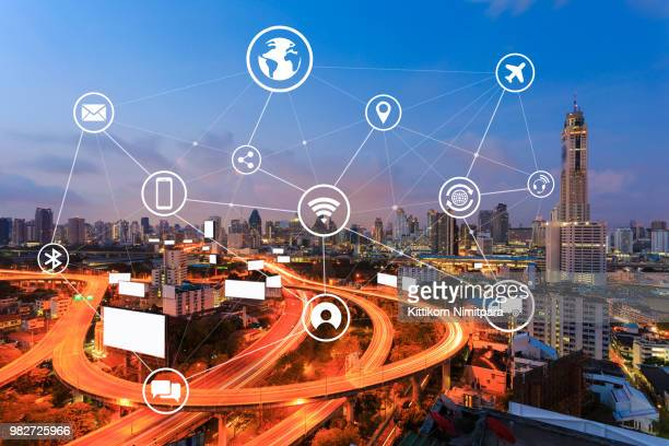 Smart city and wireless communication network, business district,abstract image visual internet of thing concept.