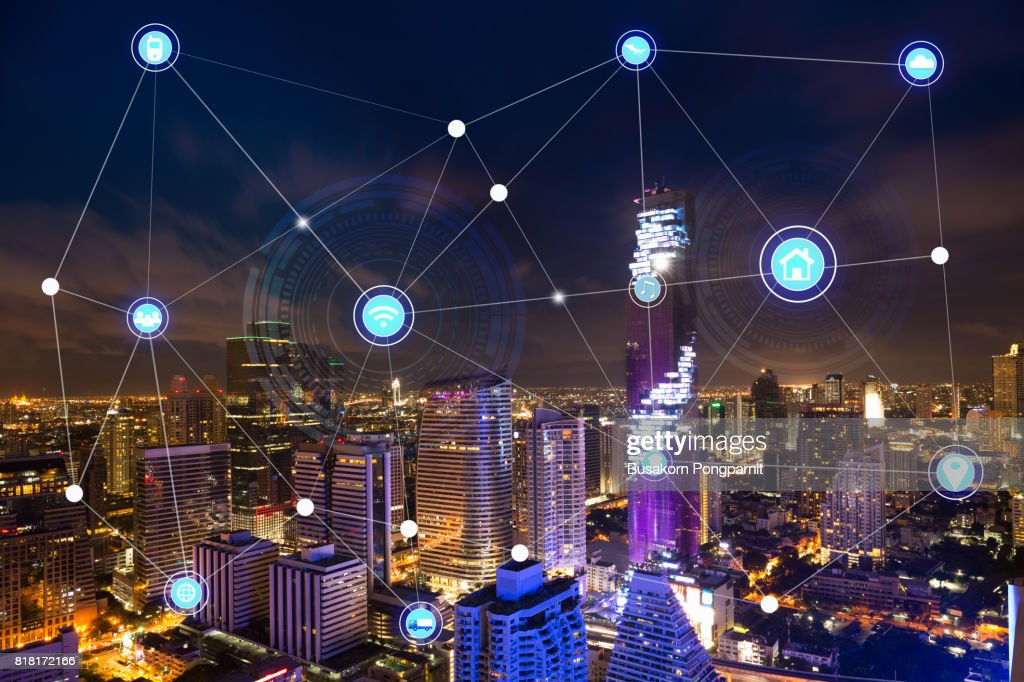 Smart city and wireless technology communication network, abstract image visual, internet of things : Stock Photo