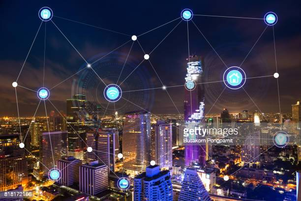 smart city and wireless technology communication network, abstract image visual, internet of things - home icon stock photos and pictures