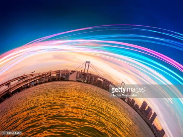 smart city at sunset with light trail - satoyama scenery stock pictures, royalty-free photos & images