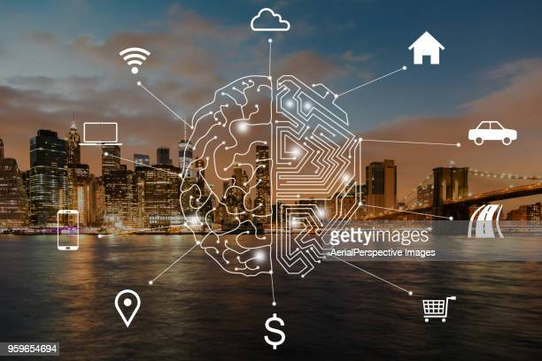 smart city of new york city - brain  stock pictures, royalty-free photos & images