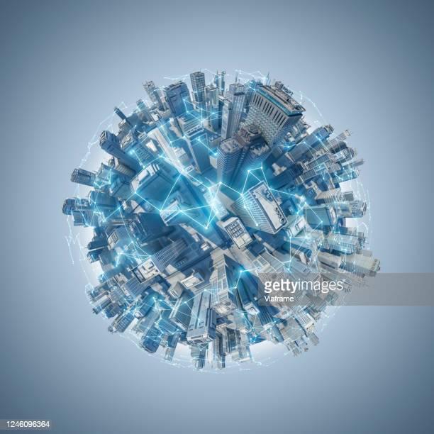 Smart City Planet - bright blue